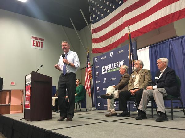 Ed Gillespie speaks at his rally in Fredericksburg, VA, on Nov. 1.