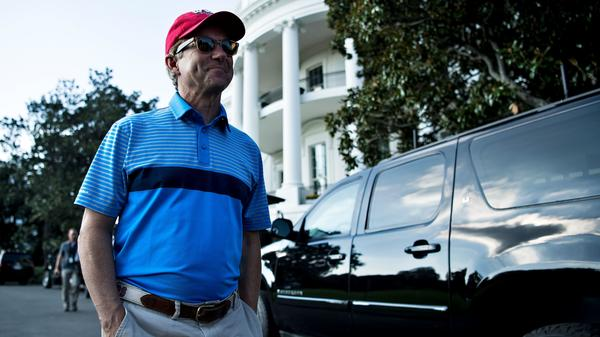 Sen. Rand Paul, R-Ky., was reportedly attacked while he mowed the grass at his home in Bowling Green. He's pictured last month in Washington, D.C., after playing golf with President Trump.