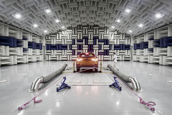 A vehicle sits in an acoustics testing lab at BYD headquarters in Shenzhen.