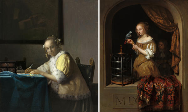 <strong>Left:</strong> Johannes Vermeer's <em>Lady Writing</em>, 1665. <strong>Right:</strong> Caspar Netscher's <em>Woman Feeding a Parrot, with a Page,</em> 1666.
