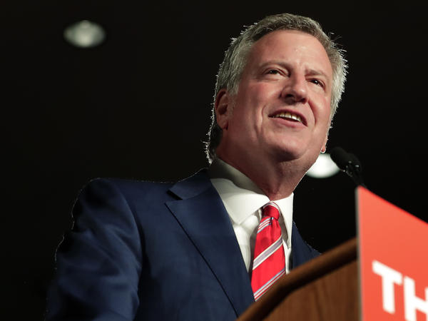 New York City Mayor Bill de Blasio speaks during his election night victory gathering on Tuesday.