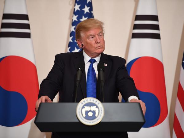 President Trump, who held a joint news conference Tuesday with South Korean President Moon Jae-in, saw his party come up short at the ballot box in several closely watched races.