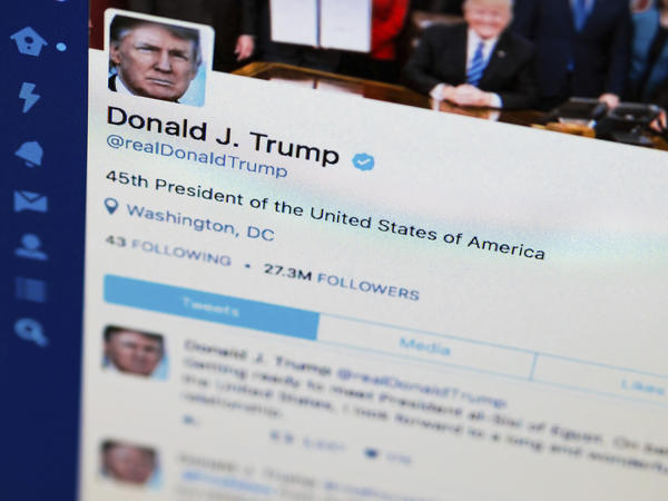This April 3 photo, taken in Washington, DC, shows President Donald Trump's Twitter feed. Some Twitter users argue Trump is violating the First Amendment by blocking people from his feed after they posted negative comments.