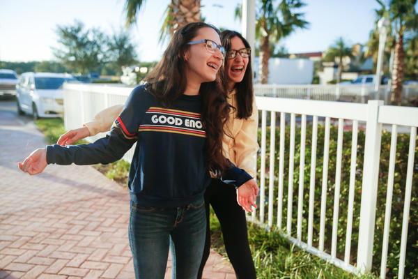 Sisters Darianne, 16, and Yerianne Roldán, 17, moved from Puerto Rico to Orlando with their family for school.