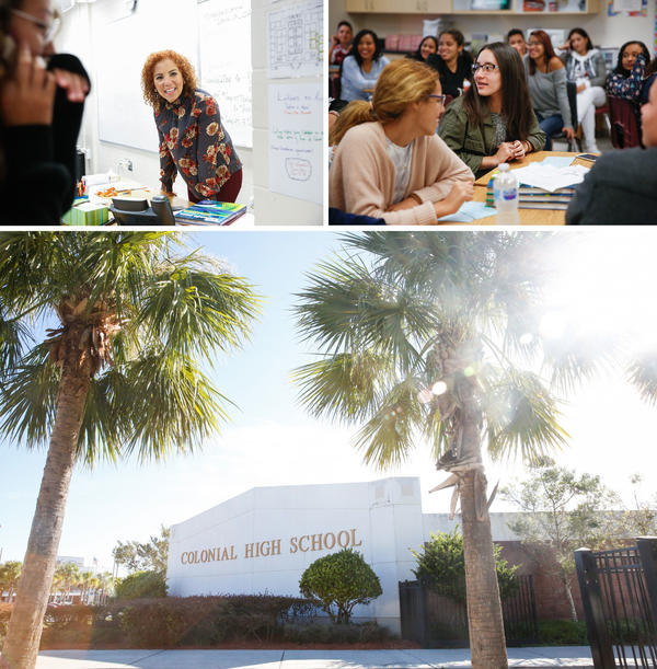 (Top left) Spanish teacher Johanna Lopez. (Top right) Yerianne Roldán, 17, in class at Colonial High School. (Bottom) Colonial High School in Orlando  has already enrolled nearly 100 students from Puerto Rico and the Virgin Islands.