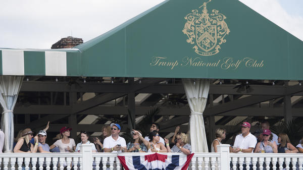 People attend the 72nd U.S. Women's Open Golf Championship at Trump National Golf Course in Bedminster, N.J., in July. President Trump mentioned the golf course during a speech before South Korea's National Assembly.