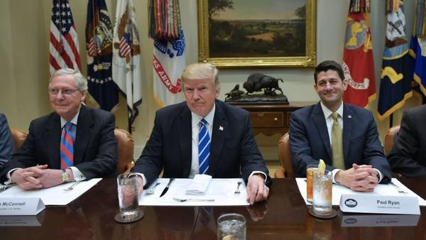 President Trump meets with Senate Majority Leader Mitch McConnell and House Speaker Paul Ryan earlier this year.