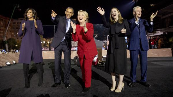 Hillary Clinton at a rally on Independence Mall in Philadelphia the night before the 2016 election, with former President Bill Clinton, Chelsea Clinton, President Barack Obama and then-First Lady Michelle Obama. A surge in rural votes delivered Pennsylvania to Donald Trump.