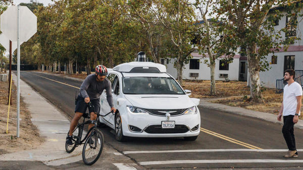 Waymo's Chrysler Pacifica minivan was being tested at Waymo's facility in Atwater, Calif. in October. The company says it's deploying cars without backup drivers.