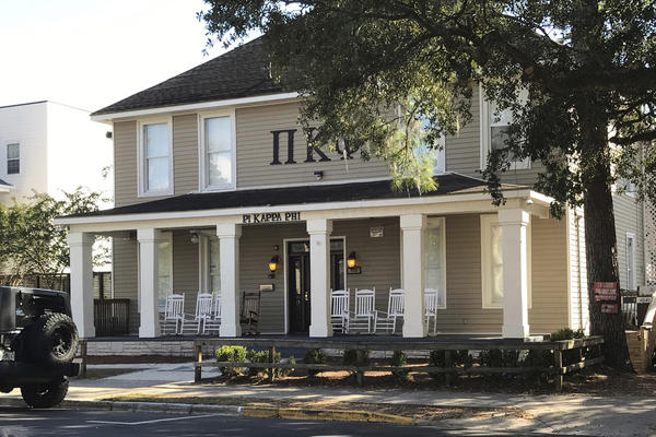 The Pi Kappa Phi fraternity house is seen near Florida State University in Tallahassee, Fla., (Joseph Reedy/AP)