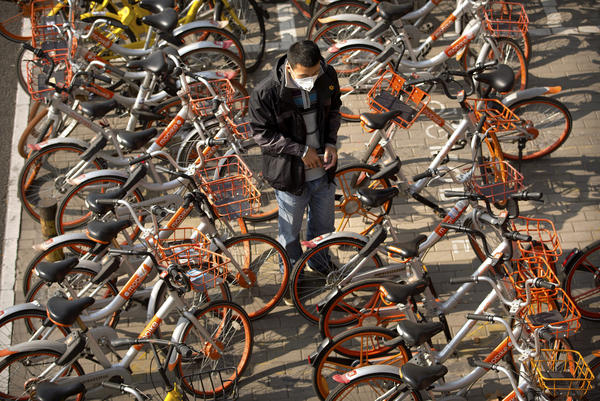 A man prepares to unlock a Mobike shared bicycle parked along a street in Beijing.
