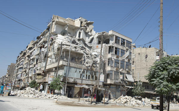 A picture shows damages caused by fighting between Syrian rebels and government forces in the old city of Aleppo, September 2012.