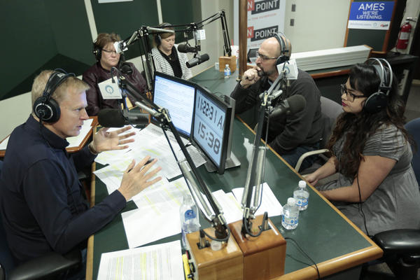 Tom Ashbrook broadcasts Friday morning, November 10, 2017, from Ames, Iowa on Iowa Public Radio. He is joined by a panel of Iowans, speaking about the political and cultural climate in Iowa. (Christopher Gannon/Iowa State University)