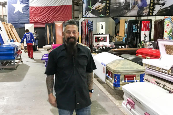 "Trey Ganem builds customized caskets designed to represent and celebrate a person's life. ""When you look at our caskets, you see the story of the person that's in it,"" he says."