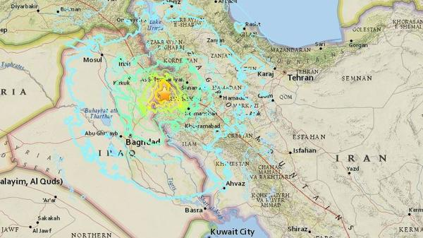 "The earthquake struck in Iran near the border with Iraq. In that area, the U.S. Geological Survey says, ""the Arabia plate is moving towards the north with respect to Eurasia at a rate of about 26 mm/yr."""