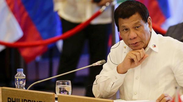 Philippine President Rodrigo Duterte looks on during the 20th ASEAN China Summit in Manila, Philippines, on Monday, Nov. 13, 2017.