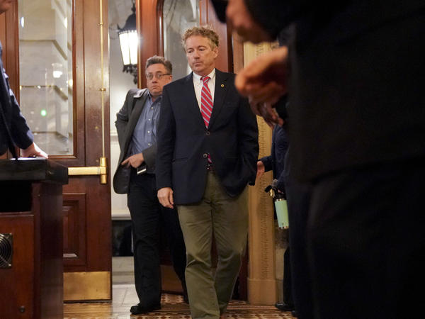 Sen. Rand Paul, R-Ky., arrives on Capitol Hill in Washington on Monday.