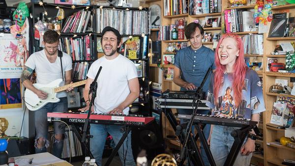 Now, Now performs a Tiny Desk Concert on Oct. 10, 2017. (Christina Ascani/NPR)