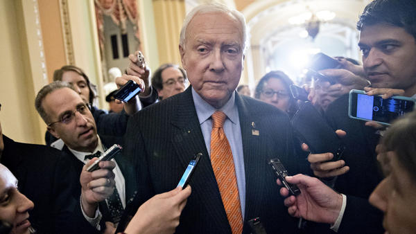 Utah Republican Orrin Hatch, the chairman of the Senate Finance Committee, speaks to members of the media after a weekly GOP luncheon meeting on Tuesday.