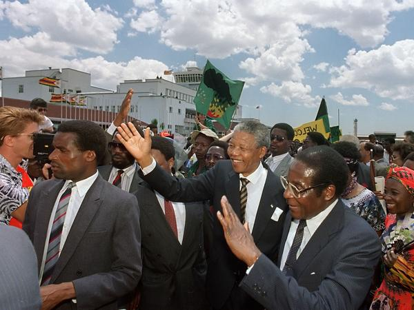 South Africa's Nelson Mandela was welcomed by Mugabe in Harare shortly after Mandela was released from prison in 1990.