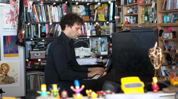 David Greilsammer performs a Tiny Desk Concert on Sept. 28, 2017. (Jennifer Kerrigan/NPR)