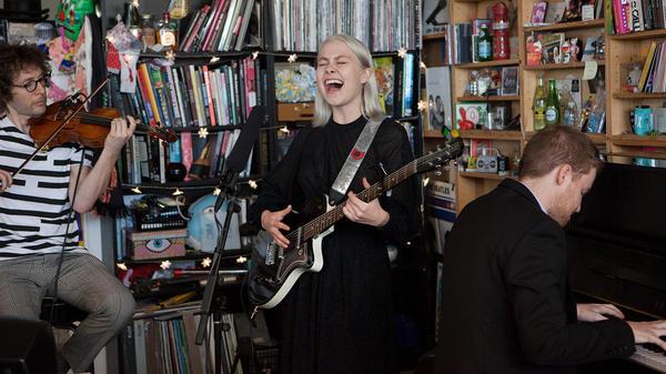 Phoebe Bridgers performs a Tiny Desk Concert on Oct. 3, 2017 (Jennifer Kerrigan/NPR).