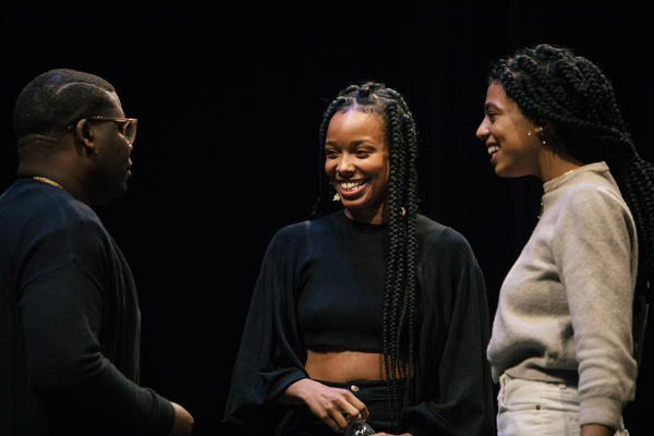 During a celebration of the Museum of Contemporary Art, Chicago's 50th year, Jamila Woods talks with her mentor avery r. young (left) and fellow musician Tasha Viets-VanLear.