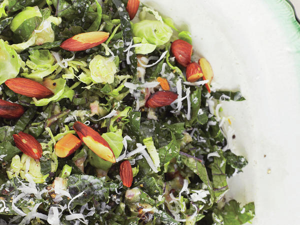 """Looking for more dishes for non-meat eaters? Try kale and Brussels sprouts salad. Find <a href=""""https://www.bonappetit.com/recipe/kale-and-brussels-sprout-salad"""" target=""""_blank"""">the recipe here</a>."""