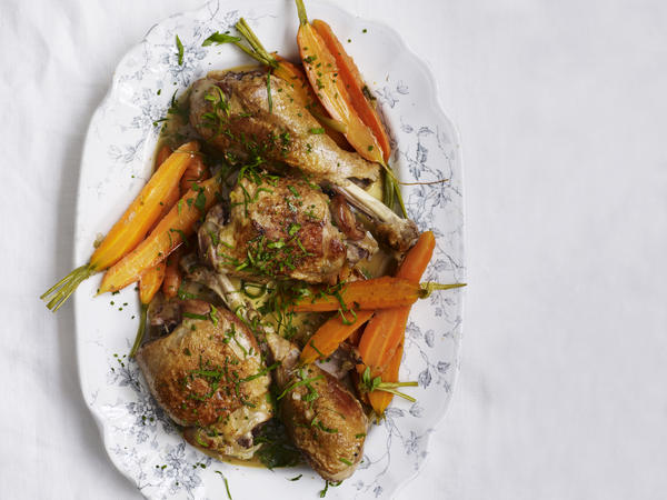 """Looking to booze up your bird? Try braising the dark meat in white wine and turkey stock. Find <a href=""""https://www.bonappetit.com/recipe/braised-turkey-legs"""">the recipe here</a>."""