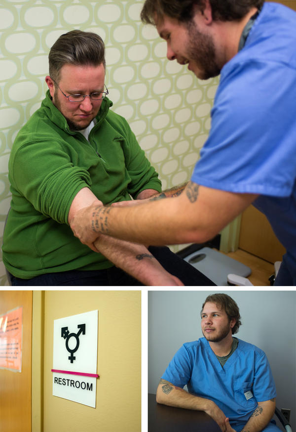Ryan Brazell (top left) has his vitals checked by Afton Bradley at the Virginia League for Planned Parenthood in Richmond, Va. Bradley makes sure the clinic is sensitive to the needs of trans patients.