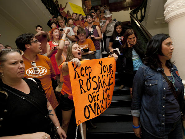 Abortion rights advocates protesting in the State Capitol in Austin, Texas, in 2013.