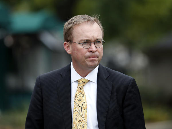 Director of the Office of Management and Budget Mick Mulvaney departs after a television interview at the White House in September.