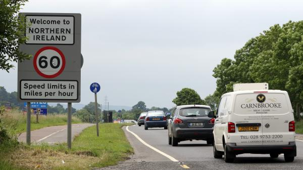Cars cross the fluid border between Ireland and Northern Ireland in Donegal, Ireland, on June 25, 2016. The result of Britain's referendum vote to leave the European Union has ignited a debate over whether the border will need to establish customs checks and tariffs.