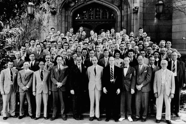 In 1952, atomic scientists came together on the 10th anniversary of the first controlled nuclear fission chain reaction, which took place Dec. 2, 1942, at the University of Chicago.