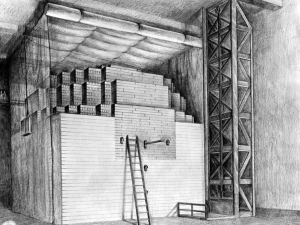 A drawing of Chicago Pile 1, the nuclear reactor that scientists used to achieve the first controlled, self-sustaining chain reaction on Dec. 2, 1942.