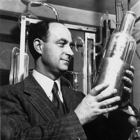 Enrico Fermi, a professor of physics at the University of Chicago and the winner of the 1938 Nobel Prize in physics, led the team of scientists which succeeded in obtaining the first controlled, self-sustaining nuclear chain reaction on Dec. 2, 1942.