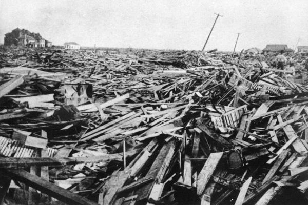 A large part of the city of Galveston was reduced to rubble.