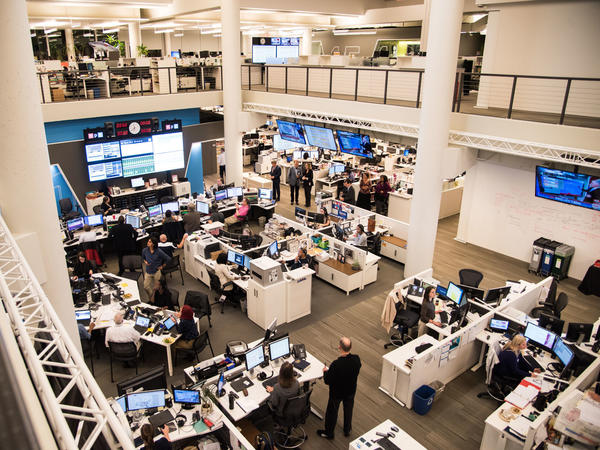 NPR's newsroom during election coverage on Nov. 8, 2016. The network has been rocked in recent weeks by allegations of sexual harassment.