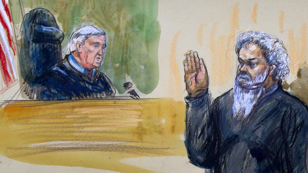 An artist's rendering shows Ahmed Abu Khatallah being sworn in by Judge John Facciola at the U.S. District Court in Washington, D.C. The Libyan was accused of masterminding the deadly attack in Benghazi in 2012.