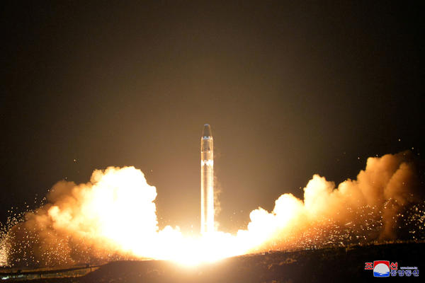 A view of Wednesday's successful test launch of the newly developed intercontinental ballistic rocket Hwasong-15 is seen in this undated photo released by North Korea's Korean Central News Agency in Pyongyang.