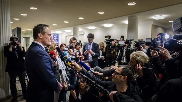 Nenad Golcevski, spokesperson for the International Criminal Tribunal for the former Yugoslavia, addresses the media Wednesday at The Hague, Netherlands, hours after Slobodan Praljak declared his innocence and apparently consumed poison in the courtroom.