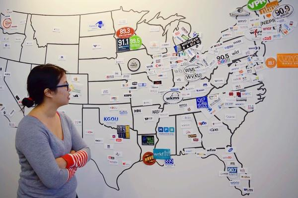 Ha-Hoa worked with her team to create this wall-map of NPR's member stations.