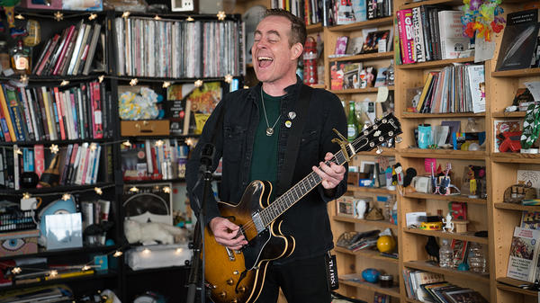 Ted Leo performs a Tiny Desk Concert on Oct. 23, 2017 (Claire Harbage/NPR).