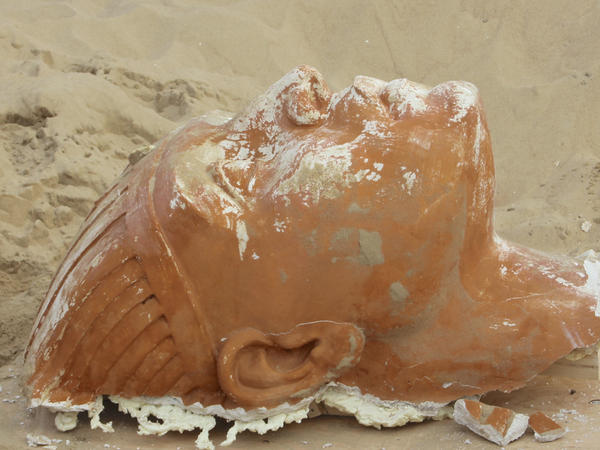 The 300-pound sphinx is the second recovered from the Guadalupe-Nipomo Dunes.