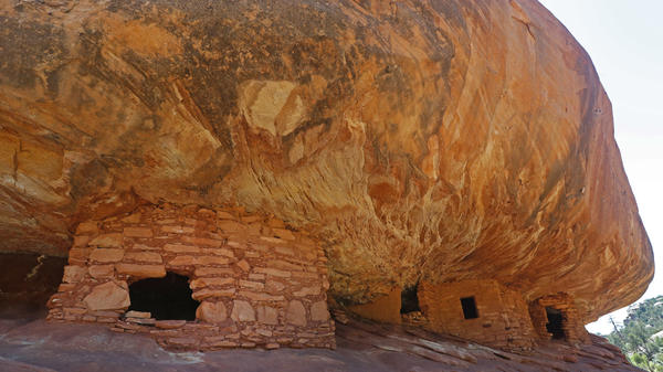 Ancient granaries, part of the House on Fire ruins, are shown here in the South Fork of Mule Canyon in the Bears Ears National Monument outside Blanding, Utah.