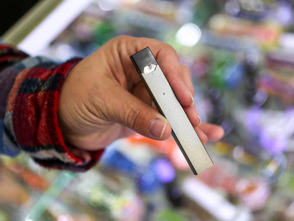 A JUUL e-cigarette for sale at Fast Eddie's Smoke Shop in Boston. The sleek devices are easy to conceal, which makes them popular with teenagers.