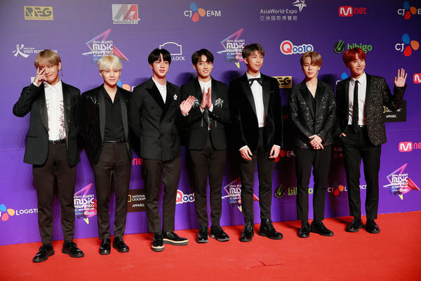 Members of BTS attend 2017 Mnet Asian Music Awards at Asia World-Expo in Hong Kong.