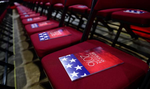 The formal printed 2016 Republican platform is placed on the chairs of the state delegates on the floor of the Republican National Convention on July 18, 2016, in Cleveland. One part of the platform that changed was about U.S. assistance to Ukraine.