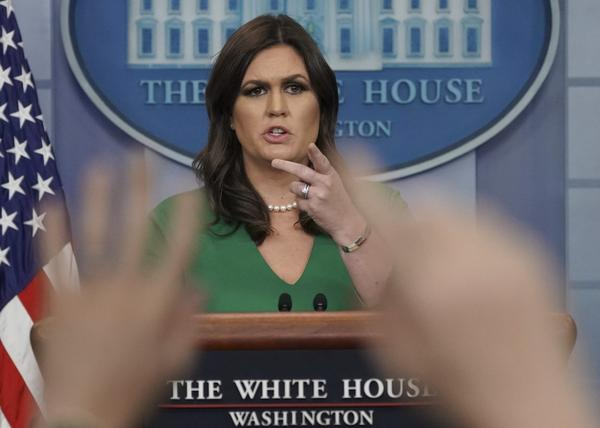 White House press secretary Sarah Huckabee Sanders gestures as she takes questions from the media during the daily briefing in the Brady Press Briefing Room of the White House, Thursday, Nov. 16, 2017. (AP Photo/Pablo Martinez Monsivais)