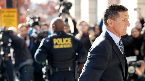 Former national security adviser Michael Flynn arrives for his plea hearing at the Prettyman Federal Courthouse in Washington, D.C. Special counsel Robert Mueller charged Flynn with one count of making a false statement to the FBI.